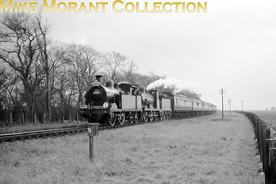 LCGB: The Kentish Venturer (Farewell To Steam) 25/2/62 An all SECR double-header at New Romney with Wainwright 'H' class 0-4-4T no. 31263 as pilot and 'C' class 0-6-0 no. 31690 as the train engine.