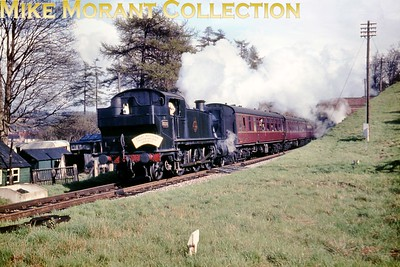 "Great Western Preservation Society: The Thames-Side Rail Tour 21/4/63 Nicely turned out Collett 6100 class 2-6-2T no. 6128 was in charge of this tour from Windsor Central - Bourne End - Marlow - Bourne End - High Wycombe - Paddington. This shot is described as ""Nr. High Wycombe"". [Mike Morant collection]"