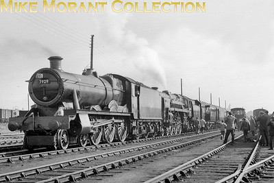 Derbyshire Railway Society: Clan - King - Hall Rail Tour 24/3/63 Collett modified Hall class 4-6-0 no. 7929 Wyke Hall and BR Stardard 6MT pacific no. 72008Clan Macleod at Oxley mpd. [Mike Morant collection]