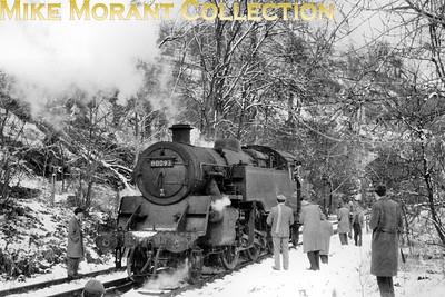 SLS/BLS: Scottish Rambler No.2 12/4/63 Track bashing in the snow! BR Standard 4MT 2-6-4T no. 80093, a Perth allocated engine, at Loch Tay which had closed to passenger traffic way back in 1939. On this day of the four day tour the stock was the pair of preserved Caledonian Railway coaches which doubled up as the regular 14.16 service train from Killin Junction to Killin.