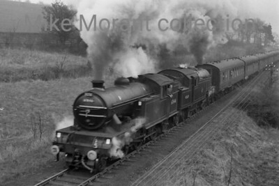 RCTS: The North Yorkshireman Rail Tour 25/4/64 According to the sixbellsjunction web site this tour was beset with problems that led to very late running. Some of this was allegedly attributable to steady Yorkshire rain which is apparent in this slightly out of focus shot of the unusual pairing of LNER Gresley V1 2-6-2T no. 67646, a Gateshead engine, and Stanier 4MT 2-6-4T no. 42639, a Darlington engine but for not much longer taken at Barnard Castle.