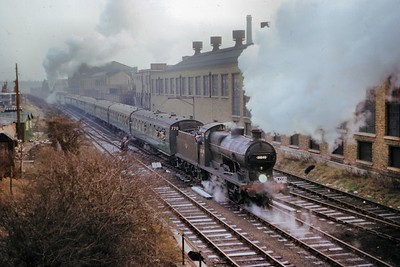 LCGB: The Maunsell Commemorative Rail Tour 3/1/65 Southern Maunsell 'Q' class 0-6-0 no. 30545 arrives at the site of the erstwhile Merton Abbey station with Maunsell mogul no. 31639 at the other end for the short journey from Wimbledon. [T. B. Owen / Mike Morant collection]