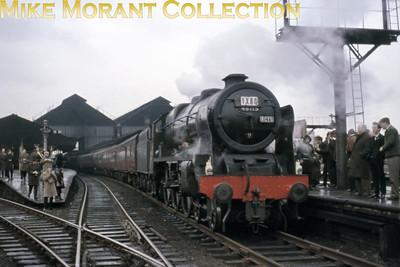 RCTS: The Rebuilt Scot Commemorative Rail Tour 13/2/65 Rebuilt Royal Scot 4-6-0 no. 46115 Scots Guardsman at Blackburn.
