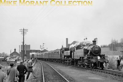 L:CGB: East Devon Rail Tour 7/3/65 Ivatt 'Mickey Mouse' 2MT 2-6-2T nos. 41206 was combined with Collett 5700 class pannier tank no. 4666 for the leg from Tipton St John's to Exeter Central via Exmouth and that unlikely pairing of motive power is depicted here at Tipton. Equally unlikely is that both locos were allocated to Exmouth Junction mpd at the time.