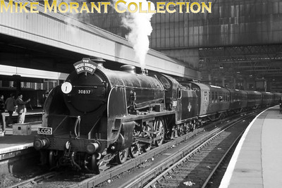 LCGB: The Wessex Downsman (No.2) 2/5/65. This was a repeat of an earlier tour and here we see Maunsell S15 class 4-6-0 no. 30837 bathed in spring sunshine prior to departure from Waterloo. This was in stark contrast to the original your which ran in very poor weather conditions. I photographed this train's arrival at Reading General and also the loco being serviced at the closed South shed which was still in use as a servicing facility for steam power.