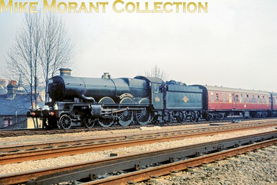 WRS: Great Western Steam Tour to Swindon 3/4/65 Collett Castle class 4-6-0 no. 7029 Clun Castle at Hanwell & Elthorne. 7029 was the motive power from Birmingham via High Wycombe and back as far as King's Norton via Oxford. [Slide taken by Mike Morant]