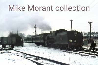 LCGB: S15 Commemorative tour 16/1/66 A somewhat 'dodgy' slide as it's some way from being pin sharp but still worthy of inclusion for both the snow scene and the location. This is Maunsell 'U' class mogul no. 31639 at Bordon.