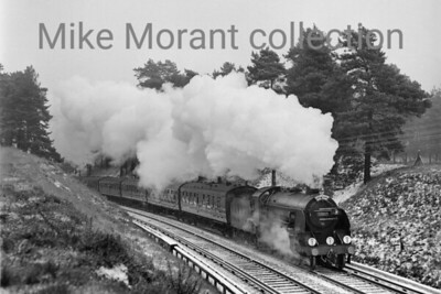 LCGB: The S15 Commemorative Rail Tour 16/1/66 Most of the workload on this tour was in the hands of Maunsell S15 class 4-6-0 no. 30837 which is depicted here in third rail territory between Pirbright Junction and Ash Vale on the climb to Foxhills Tunnel during a day that  was beset with snowy conditions. Note that 30837 was a revival as it had been officially withdrawn from service in the previous September. [Alan Orchard / Mike Morant collection]