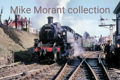 LCGB: The Dorset Belle Rail Tour 27/2/66 Ivatt 'Mickey Mouse' 2MT 2-6-2T no. 41301 is about to become the pilot engine whilst classmate no. 41284 is the train engine for the return leg from Swanage, as seen here, to Wareham.
