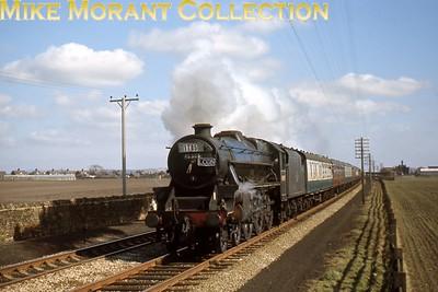 LCGB: Lancastrian Railtour 6/4/68 LMSR Stanier 'Black 5' 4-6-0 no. 45305 at Burscough Bridge.