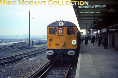 BLPS/LCGB: The Sussex Venturer Rail Tour 4/1/69 Bulleid/Raworth Co-Co third rail electric loco No. 20001 at Newhaven Harbour.