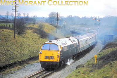 RPPR: Western Lament 24/2/77 BR 'Western' class 52 Bo-Bo diesel hydraulic no. D1048 Western Lady leaves Bradford North Junction and traverses the single line section to Thingley Junction.
