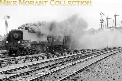 1948 Locomotive Exchanges It's always a privilege to be able to acquire unpublished film material from the 1948 exchanges and here we see original Bulleid Merchant Navy pacific No. 35019 French Line CGTstorming northwards past Harringay on former LNER metals on 17/5/48. The supplied coal seems to not suit a Bulleid pacific! [Mike Morant collection]