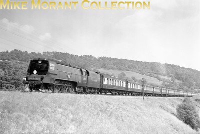 As well as being a nice picture to look at this is also of historical interest. Depicted is SR Bulleid designed original Merchant Navy pacific no. 35007 Aberdeen Commonwealth straining at the leash on the ascent towards Honiton tunnel with the Down 'Devon Belle' Pullman service in July 1949. 35007 has its BR number (obviously) and the SOUTHERN roundel on the smokebox door has been replaced by the new number plate but what is worthy of note is that the tender is still marked as 'SOUTHERN'. 35007 was a Salisbury engine when this shot was taken. [Mike Morant collection]