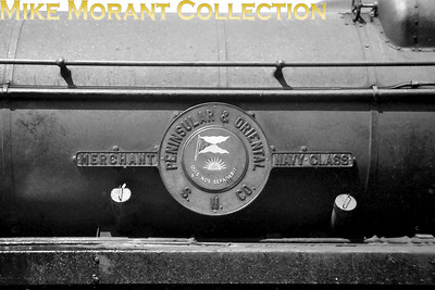 PENINSULAR & ORIENTAL S. N. CO. nameplate as worn by Bulleid rebuilt Merchant Navy pacific no. 35006. [Mike Morant collection]