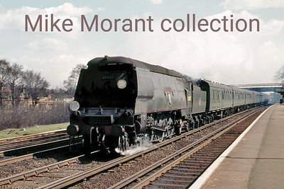 A down Bournemouth West express hauled by Bulleid West Country pacific No. 34007 Wadebridge passes through Raynes Park on 12/4/63. 34007 is thankfully one of the large number of Bulleid pacifics to have survived into the heritage era and was operational at the time this caption was written.
