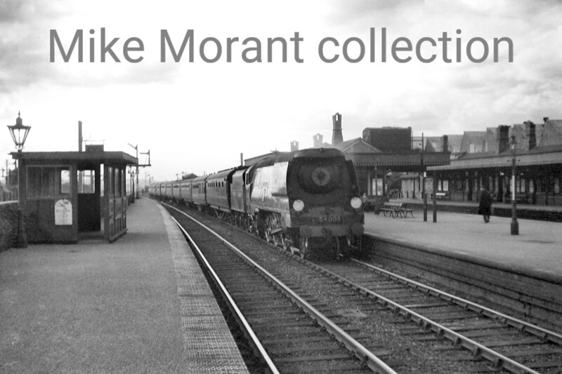 Bulleid original West Country pacific no. 34005 <i>Barnstaple</i> paired with a Stanier tender is depicted here on the up fast line at Cricklewood station during the 1948 loco exchanges<br> <i>[Mike Morant collection]</i>
