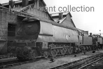 Bulleid original West Country pacific no. 34002 Salisbury on shed at Nine Elms mpd. [Mike Morant collection]