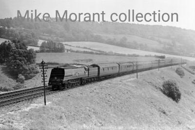 An early post-nationalisation shot on the climb to Honiton tunnel of Bulleid original West Country class pacific No. 34006 Bude in early malachite livery, still with the Southern smokebox roundel and no tender mrkings other than the yellow stripes.  34006 entered traffic in 1945 as 21C106 and received its BR number in March 1948 whilst allocated to Exmouth Junction which was still the case when this shot was taken. Bude didn't quite see out the end of Southern steam as withdrawal came from Salisbury mpd in March 1967.