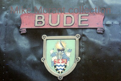 Bulleid West Country pacific no. 34006's BUDE nameplate photographed at Eastleigh mpd on 9/1/66.