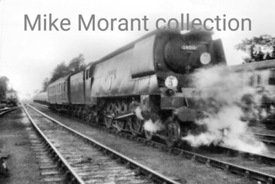 Bulleid original light pacific no. 34010 Sidmouth pushing its stock up into the carriage storage sidings at Bournemouth West in August 1956. Photo taken by Mike Morant
