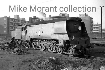 Bulleid original light pacific no. 34080 74 Squadron at Nine Elms mpd. 34080 was an Exmouth Junction engine when this shot was taken on 15/9/63 but she would be an early withdrawal from this class succumbing in Sepotember 1964 whilst still allocate3d to EJ. [Mike Morant collection]
