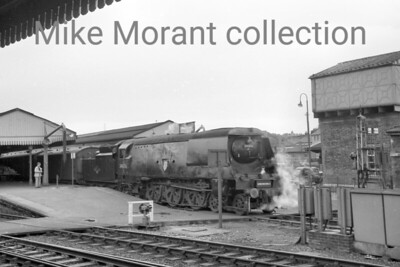 Bulleid original West Country pacific no. 34006 Bude departs from Salisbury. [Mike Morant collection]