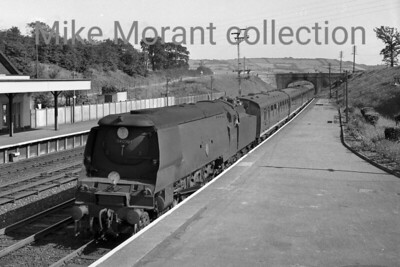 Bulleid original light pacific no. 34020 Seaton arrives at Seaton Junction station whilst in charge of the 13.18 Salisbury to Exeter stopping train on 9/9/62. [Mike Morant collection]