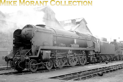 Bulleid rebuilt West Country pacific no. 34009 Lyme Regis on shed at Nine Elms. [Mike Morant collection]
