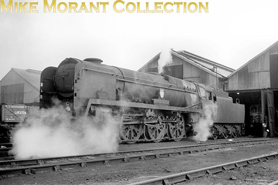 Bulleid rebuilt West Country pacific no. 34009 Lyme Regis on shed at Eastleigh. [Mike Morant collection]