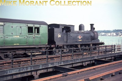 Isle of Wight steam Adams O2 class 0-4-4T no. W24 Calbourne at Ryde Pier Head. This slide is one of a large batch bought via eBay and the quality, as is immediately apparent, is suspect. Only 12 of those slides are anywhere near usable so buyer beware