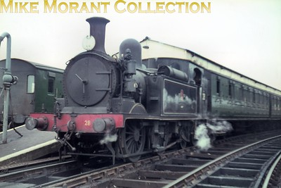 Isle of Wight steam Adams O2 class 0-4-4T no. W28 Ashey at Ryde Pier Head. This slide is one of a large batch bought via eBay and the quality, as is immediately apparent, is suspect. Only 12 of those slides are anywhere near usable so buyer beware