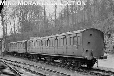 Isle of Wight rolling stock: LBSCR composite no. S6356 and an unidentified LBSCR eight compartment third coach at Ventnor on 12/2/66. [Mike Morant collection]