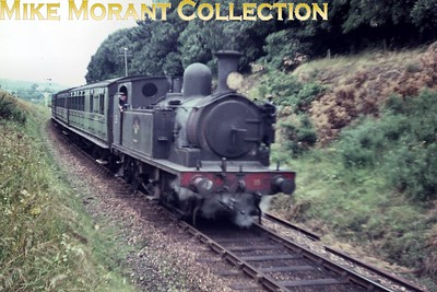 Isle of Wight steam Adams O2 class 0-4-4T no. W35 Freshwater at Sandown. This slide is one of a large batch bought via eBay and the quality, as is immediately apparent, is suspect. Only 12 of those slides are anywhere near usable so buyer beware