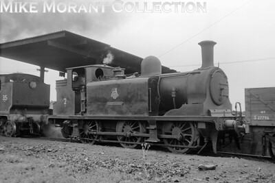 Isle of Wight based ex-LBSCR E1 class 0-6-0T No. W2 Yarmouth at Newport mpd on 3/7/53.