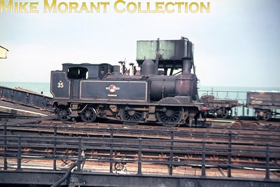 Isle of Wight steam Adams O2 class 0-4-4T no. W35 Freshwater at Ryde Pier Head. This slide is one of a large batch bought via eBay and the quality, as is immediately apparent, is suspect. Only 12 of those slides are anywhere near usable so buyer beware