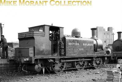 Isle of Wight based ex-LBSCR Stroudley E1 class 0-6-0T no. 3 Ryde in early BR unlined black livery is on shed at Newport mpd.