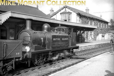 Isle of Wight based ex-LBSCR Stroudley E1 class 0-6-0T no. 2 Yarmouth probably just repainted in early BR unlined black livery is on goods duty at Wroxall.