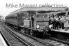 <center><b>Caterham Railway Company: Caterham Centenarian 6/8/56</b><br> This very short trip saw the Brighton Works shunter, Stroudley Terrier 377S, journey from Purley to Caterham and back in the company of red liveried SECR birdcage set no. 580. Here we see the ensemble at Purley station having returned from Caterham.<br> [<i>Mike Morant collection</i>]</center>