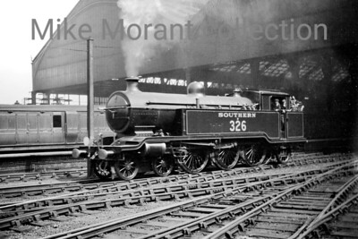 Former LBSCR Marsh designed J2 class 4-6-2T no. B326 at Brighton. 2326 entered LBSCR service in March 1912  - after Marsh had moved on -  numbered 326, with the name Bessborough and was fitted with Walschaerts valve gear. 2326 received BR branding in March 1948 and would be withdrawn at Brighton in June 1951. [Mike Morant collection]