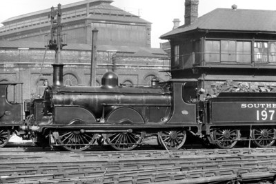 LBSCR Stroudley designed B1 'Gladstone' class 0-4-2 No. B197 resplendent in SR lined green livery at Brighton. No. 197 entered service in 1887 and was withdrawn in 1932 having briefly been renumbhered 2197.