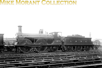 How appropriate! LBSCR Stroudley B1 'Gladstone' class 0-4-2 no. 187 Croydon New Cross Gate shed. No. 187 was built at Brighton in June 1889 and withdrawn as SR no. B187 in December 1930. [Mke Morant collection]