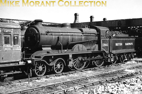 Former LBSCR B4X 4-4-0 no. 32043 with British railways on the tender at Eastbourne mpd. 32043 was BR branded in June 1948 and moved to Eastbourne in the July but saw little if any use until withdrawal in November 1951.<br> [<i>Mike Morant collection</i>]