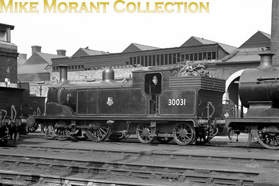 LSWR Drummond M7 0-4-4T no. 30031 at Brighton mpd on 27/4/57.