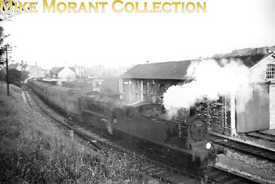 Drummond M7 class 0-4-4T no. 30058 piloting a Maunsell mogul at Swanage. [Mike Morant collection]