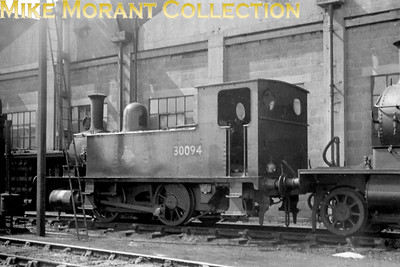 LSWR Adams B4 class 0-4-0 dock tank no. 30094 at Eastleigh on 29/6/50. [Mike Morant collection]
