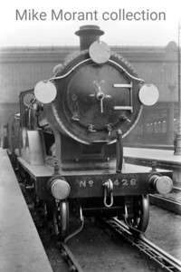 An undated head-on view of Drummond L12 class 4-4-0 no. E428 awaiting departure at Waterloo station. E428 was of 1905 vintage and would be withdrawn as BR 30428 at Eastleigh mpd in April 1951. [Mike Morant collection]
