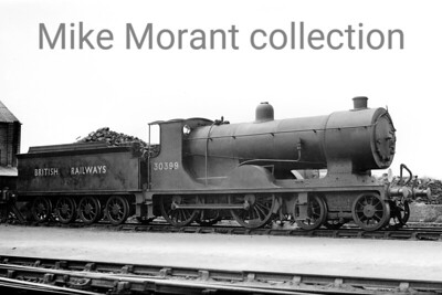 Former LSWR Drummond S11 class 4-4-0 no. 30399 at an undisclosed location. 30399 was allocated variously at Bournemouth, Eastleigh, Fratton, Dorchester frpm April 1948 when her BR branding was applied until her final location of Guildford where withdrawal took place in November 1951. [Mike Morant collection]