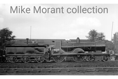 Drummond T9 'Greyhound' 4-4-0 no. 30313 ex-works in BR lined black livery but yet to ahve its BR emblem applied at Eastleigh in June 1949. [Mike Morant collection]
