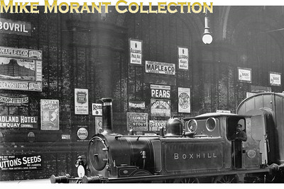 Enamel advertising plaques are much collected and I thought that this extract from one of my glass negatives might generate some interest. It was taken inside Brighton on the western side between 1905 and 1909. There are at least 22 visible boards. Sutton's Seeds, Bovril, Players Navy Cut and Pears  come up in picture after picture. [Mike Morant collection]